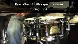 Pearl Chad Smith 14 x 5 snare drum tuning range