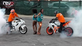 Bike Stunts Yamaha R6 and Honda CBR Burnouts,Drifts & wheelies