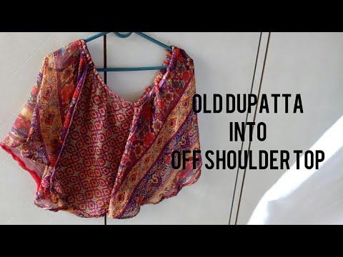 DIY : Recycle Old Dupatta Into Off Shoulder Dress   