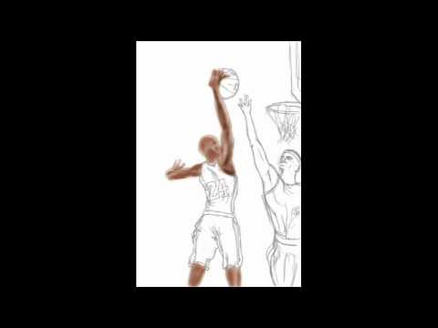 Lebron Dunking Drawing Kobe Dunking on Lebron