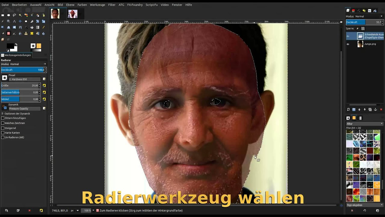 Gimp 2.8 Tutorial (deutsch) Personen altern lassen - YouTube
