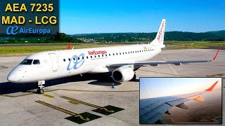 TRIP REPORT | Madrid - Coruña | BREATHTAKING SUNSET! | AIR EUROPA Embraer E195