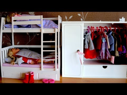 Baby Doll Bunk Bed & Wardrobe . Dolls Bedroom Closet Dress up Baby Born Bedtime & Morning Time