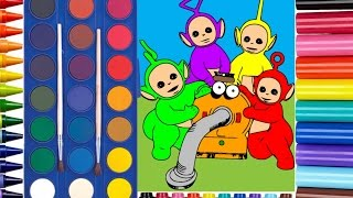 Learn Colors for Kids and Teletubbies Coloring Page