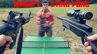 Painful Airsoft STING PONG Challenge | Bodybuilder VS Airsoft Guns and Sniper Fail