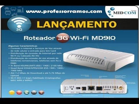 Vivo 3G BOX Wi-Fi - Como Configurar Roteador MIDCOM Md910 3G Internet Móvel - www.professorramos.com