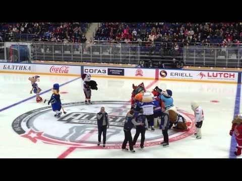 Шоу талисманов клубов КХЛ в перерыве Матча Звезд 2016