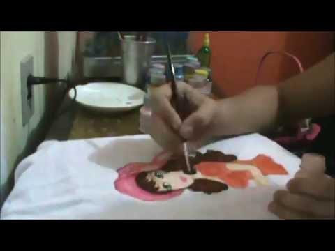 Pintura em Tecido - boneca de cabelos castanhos