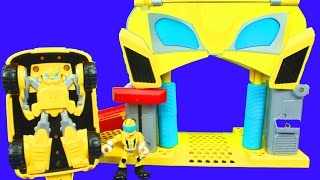 Play Skool Heroes Transformers Rescue Bots Unboxing Bumblebee Rescue Garage Chase the Police Bot