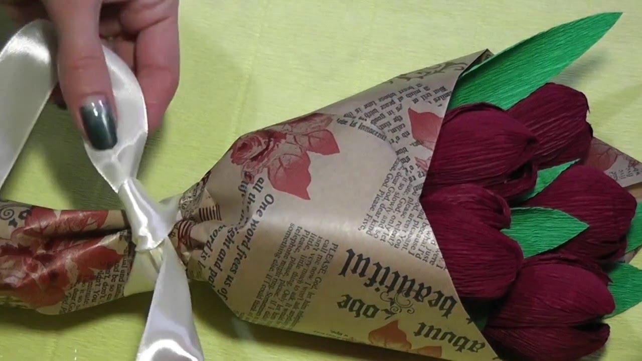 Букет из конфет. Как красиво упаковать цветы - YouTube
