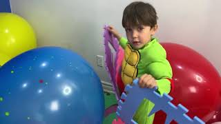 Zack Playing with Toy Blocks and build Colored Playhouse