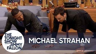 Michael Strahan Challenges Jimmy to Do 25 Push-Ups for Military Vets