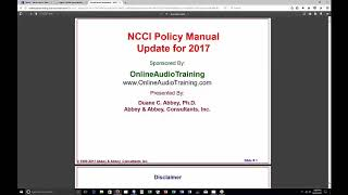 NCCI Edit Coding Policy Manual Update 2017
