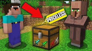 Minecraft NOOB vs PRO : WHY VILLAGER DONT SELL NOOB RAREST SWORD CHEST? Challenge 100% trolling