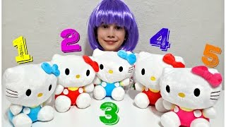 FIVE LITTLE BABIES jumping on the bed LEARN NUMBERS w Hello Kitty & Simple Songs For Children