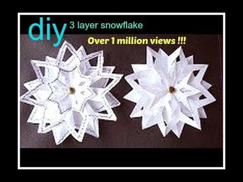 Snowflake 4 3 Layer Snowflake Paper Folding Christmas