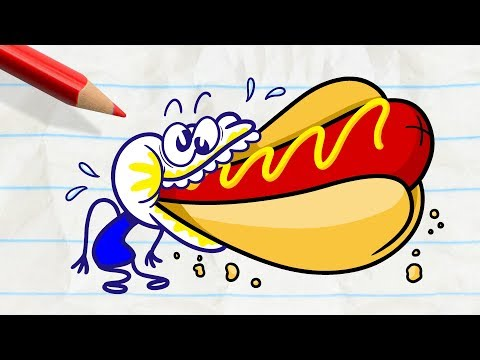 Pencilmate is So Stuffed!  -in- MOODY FOODY - Pencilmation Compilation for Kids