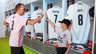 Kids Join Professional Soccer Team! HUGE LOCKER ROOM SURPRISE!!