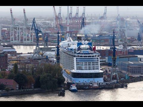 Quantum of the Seas arriving Hamburg to Dry Dock 23.10.2014