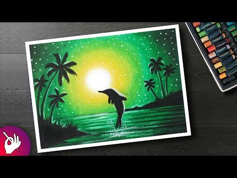 How to DRAW Scenery green light with Oil Pastel step by step