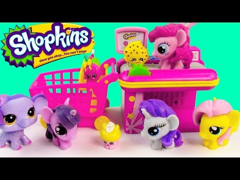 MLP Fashem's Shopkins My Little Pony GROCERY STORE Twilight Pinkie Pie Fluttershy Rarity Toy Playing