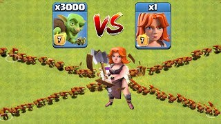 Who Will Win? 3000 Goblin VS 1 Valkyrie   Clash Of Clans   Troop Challenge