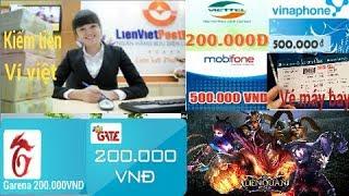 Ví việt kiếm tiền online hay kiếm thẻ cào thẻ game 10k trong vài phút