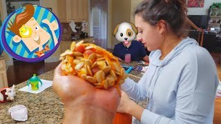 HALLOWEEN PUMPKIN CARVING SCARES BABY & FACE SMUSH fun! FUNnel Vision Baby Breaks Holiday Decor Vlog