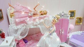 Twin Barbie Bunk Bed Morning Routine Dress up Gaun boneka Barbie Vestido de boneca