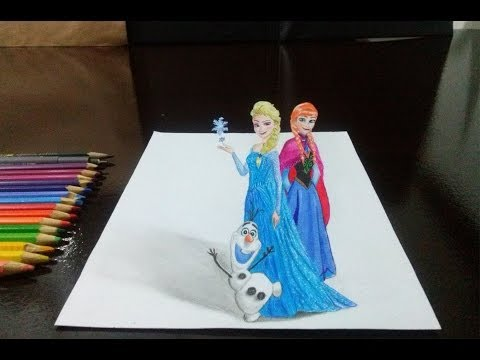 Desenhando a Elsa, Anna e Olaf em 3D - Frozen (How to draw Elsa, Anna and Olaf in 3D)