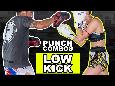 Muay Thai Drills - Punch Combinations w/ Low Kick Drill - Pad Work Image 1