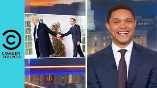 """Donald Trump Brushes """"Dandruff"""" Off Macron's Shoulder 