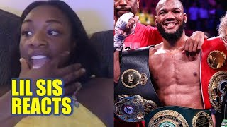 Claressa Shields reacts to Julian Williams defeating Jarrett Hurd