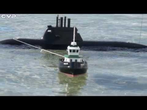 Rc Tug Boat 510 towing Rc Submarine