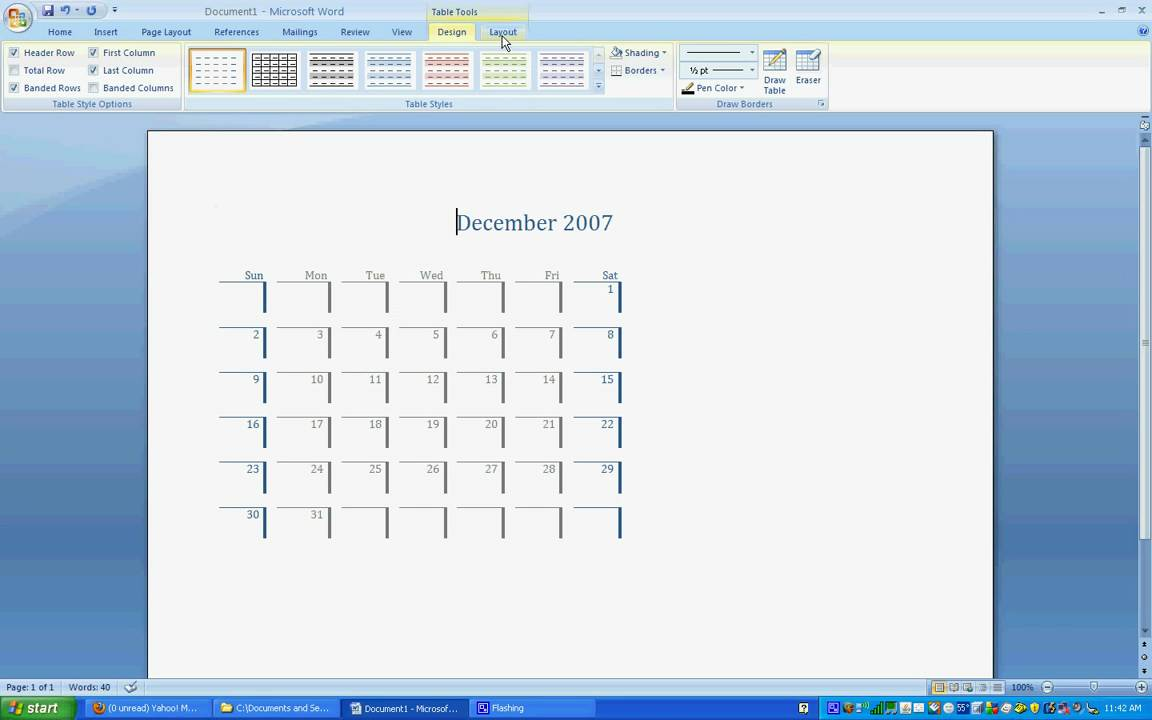 MS Word 2007 Calendar