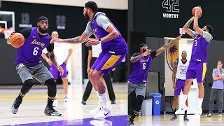 LeBron James CRAZY Half Court Shot Then Danny Green Trash Talks In Anthony Davis Lakers Practice!