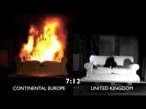 2 IKEA EKTORP SOFAS - Comparative burning test - YouTube