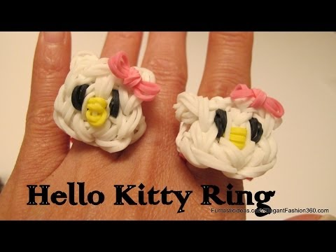 Rainbow Loom Hello Kitty Ring and Face charm - How to