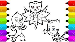 PJ Masks Owlette Gekko, Catboy Drawing and Coloring