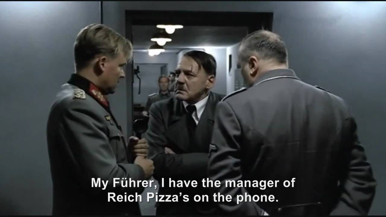 Hitler phones Reich Pizza's to find out what happened to his order