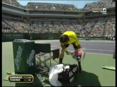 Fernando Gonzalez gets angry against Roger Federer Video