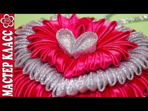 Подвеска Сердце Канзаши / Видео урок Куликовой / St. Valentine Kanzashi