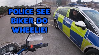 UK Bikers Road Rage, Near Misses and Crazy, Bad Drivers #79 Police See Biker Do Wheelie!