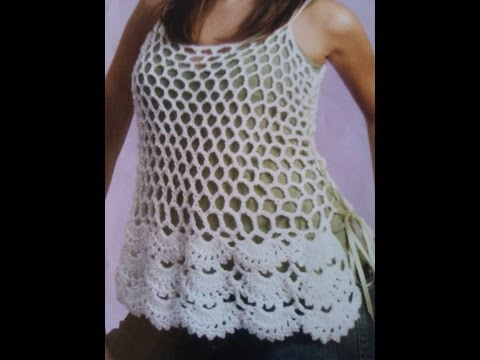 Crochet floral edge cami -  tank top  Part 1