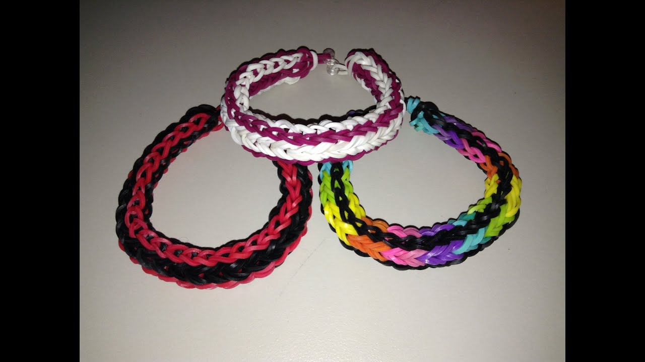 New Rainbow Loom Double Cross Single Braid Bracelet- Reversible ...