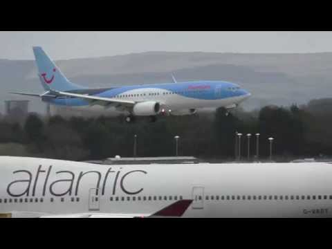 Thomson Airways G-TAWD 737 Winglets Windy Landing Manchester Airport