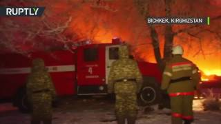 Kirghizstan : le lieu du crash de l'avion dévoré par les flammes