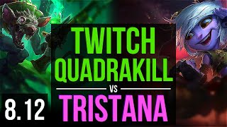 TWITCH vs TRISTANA (ADC) ~ Quadrakill, Legendary, KDA 21/6/13 ~ EUW Master ~ Patch 8.12