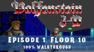 Wolfenstein 3D (100%) Walkthrough (E1M10)