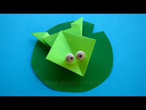 Origami Frosch falten mit Papier - Einfache Tiere basteln mit Kindern
